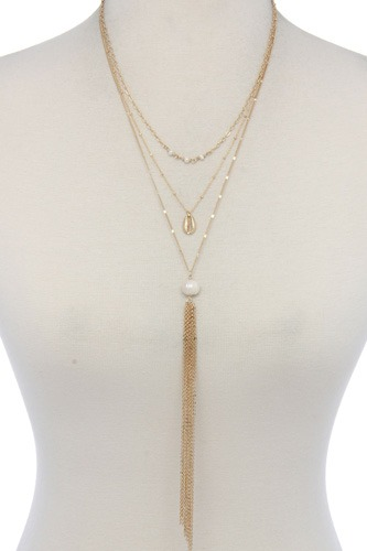 Pearl bead multi layered necklace-id.cc37373