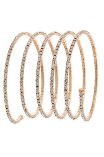 Spiral pave lined rhinestone ball ended bracelet-id.cc37376