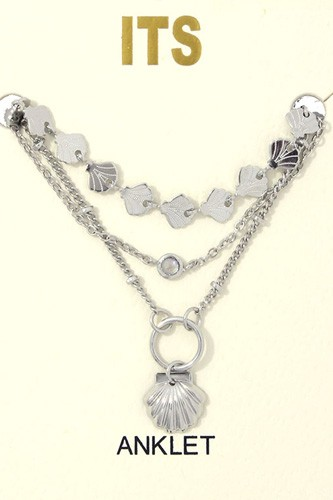 Seashell charm metal layered anklet-id.cc37403