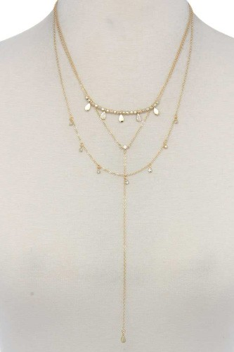 Hammered teardrop shape dangle layered necklace-id.cc37404