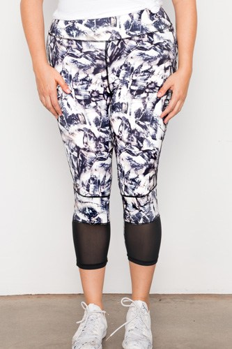 Plus size active athletic mid rise abstract leggings-id.cc37405