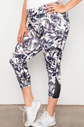 Plus size active athletic mid rise abstract mesh leggings-id.cc37406