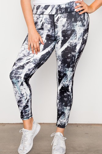Plus size active athletic mid rise abstract leggings-id.cc37407
