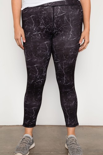 Plus size active mid rise marble print leggings-id.cc37411