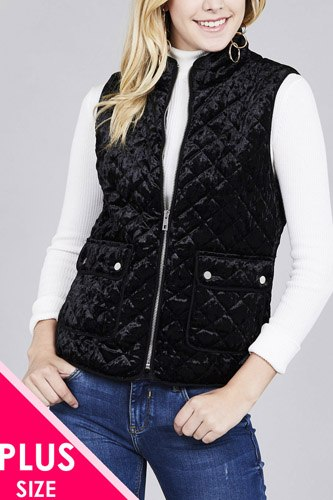 Quilted padding w/suede piping detail velvet vest-id.cc37423