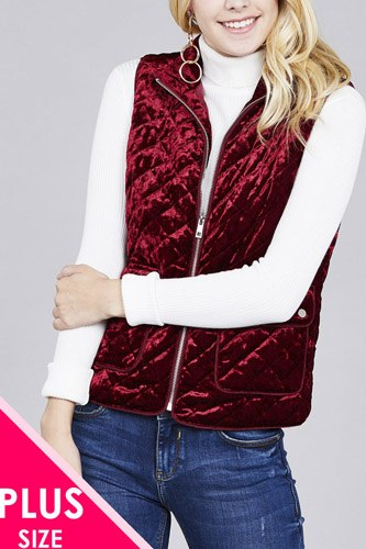 Quilted padding w/suede piping detail velvet vest-id.cc37423a