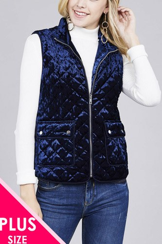 Quilted padding w/suede piping detail velvet vest-id.cc37423b