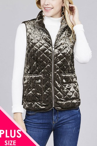 Quilted padding w/suede piping detail velvet vest-id.cc37423c