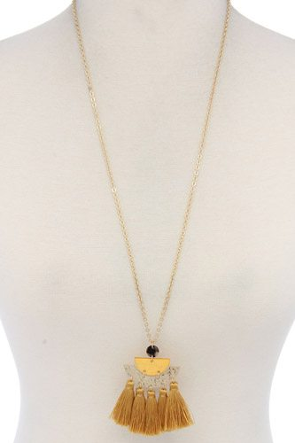 Half circle tassel pendant necklace-id.cc37436