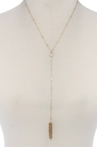 Rectangular faux stone y shape necklace-id.cc37439