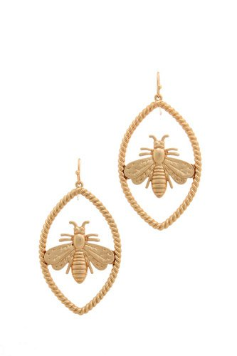 Trendy bee oval earring-id.cc37456