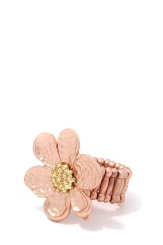 Hammered flower stretch ring-id.cc37469