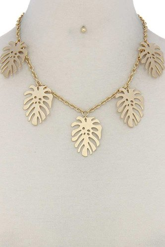 Tropical leaf dangle metal necklace-id.cc37507