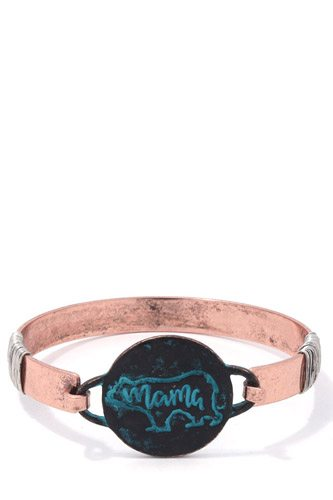 Mama bear circle metal bracelet-id.cc37519
