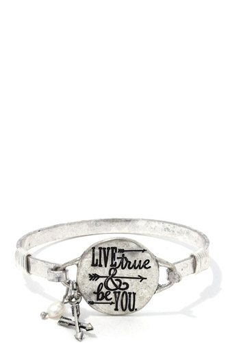 Live true & be you metal bracelet-id.cc37522