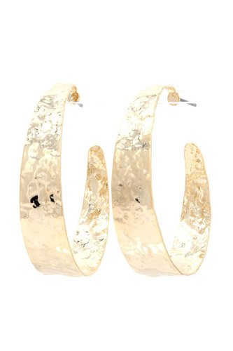 Hammered wide open circle drop earring-id.cc37525