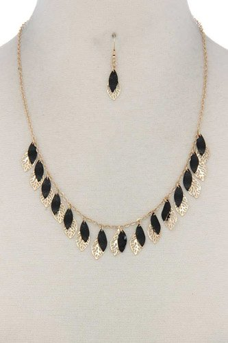Cut out leaf pointed oval shape dangle necklace-id.cc37541