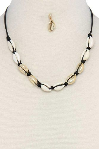 Coffee bean shell necklace-id.cc37542