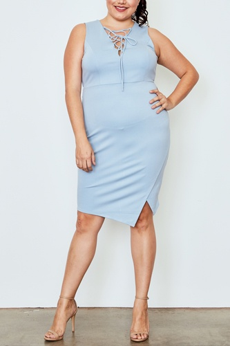 Plus size light blue lace up asymmetrical front dress-id.cc37546