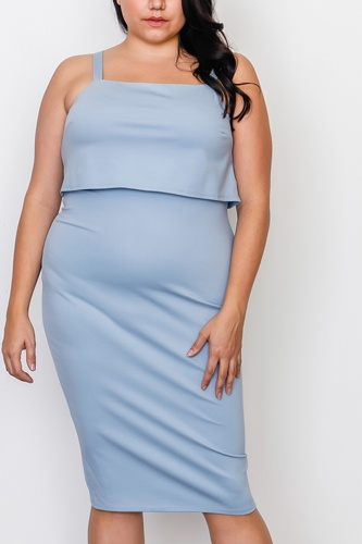 Plus size chambray flounce layered midi dress-id.cc37547