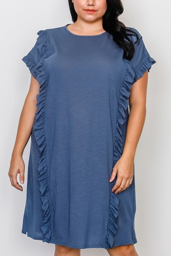 Plus size ruffle front midi dress -id.cc37548