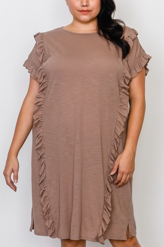 Plus size ruffle front midi dress -id.cc37548a