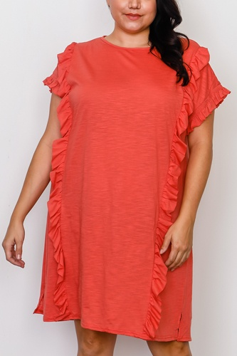 Plus size ruffle front midi dress -id.cc37548b