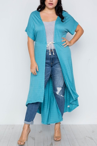 Plus size basic high low cardigan cover up-id.cc37549