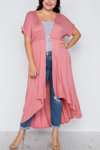 Plus size basic high low cardigan cover up-id.cc37549a
