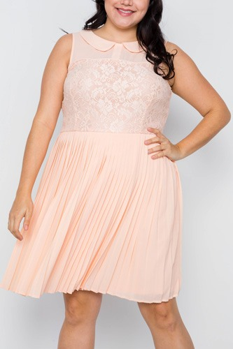 Plus size peach pleated chiffon lace sleeveless dress-id.cc37554