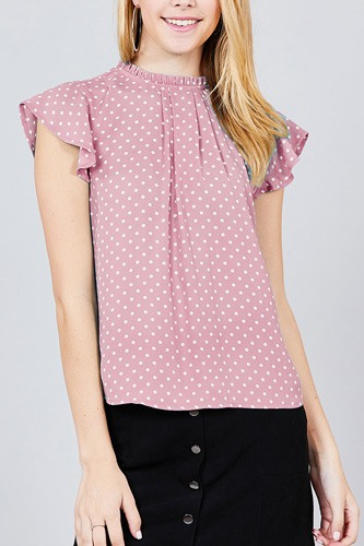 Short sleeve ruffle neck back button dot print woven top-id.cc37560c