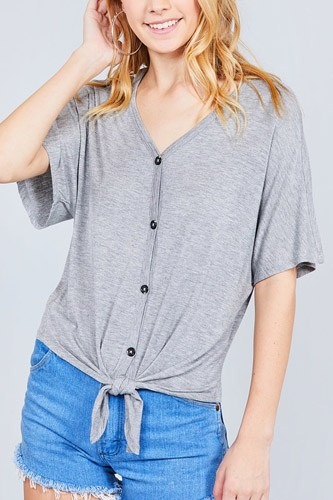 Short dolman sleeve v-neck w/button detail front tie rayon spandex cardigan-id.cc37561