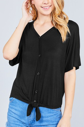 Short dolman sleeve v-neck w/button detail front tie rayon spandex cardigan-id.cc37561a