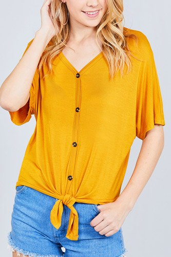 Short dolman sleeve v-neck w/button detail front tie rayon spandex cardigan-id.cc37561b