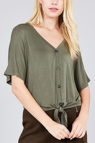 Short dolman sleeve v-neck w/button detail front tie rayon spandex cardigan-id.cc37561d
