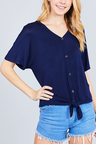 Short dolman sleeve v-neck w/button detail front tie rayon spandex cardigan-id.cc37561f