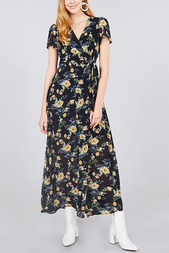 Short sleeve v-neck wrapped w/bow tie floral print maxi dress-id.cc37562