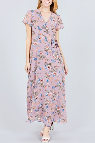 Short sleeve v-neck wrapped w/bow tie floral print maxi dress-id.cc37562a