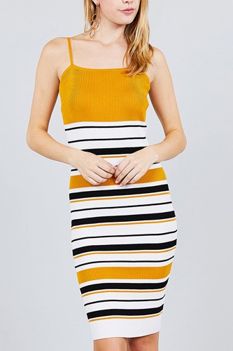 Straight neck multi stripe cami mini sweater dress-id.cc37564b