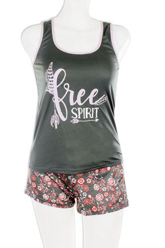 Knit racerback tank with printed shorts set-id.cc37572
