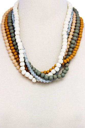 Stylish trendy multi beaded necklace-id.cc37575