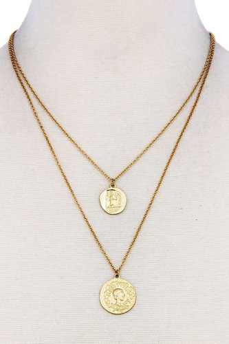 Chic trendy gold coin pendant double layer necklace-id.cc37577