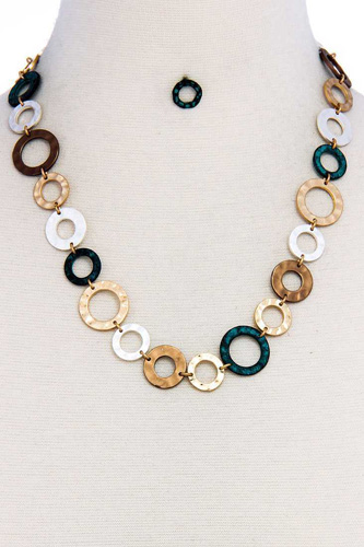 Designer chic trendy hoop chain necklace and earring set-id.cc37609