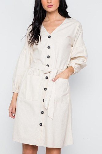 Button down solid boho self tie dress-id.cc37617a