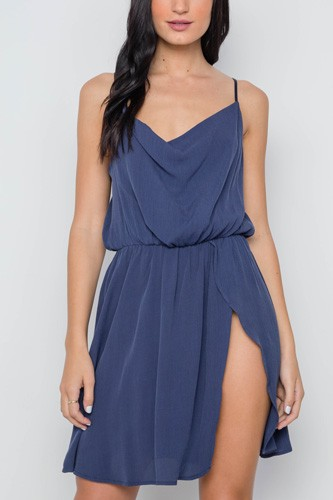 Navy solid cami cowl neck side slit mini dress-id.cc37618