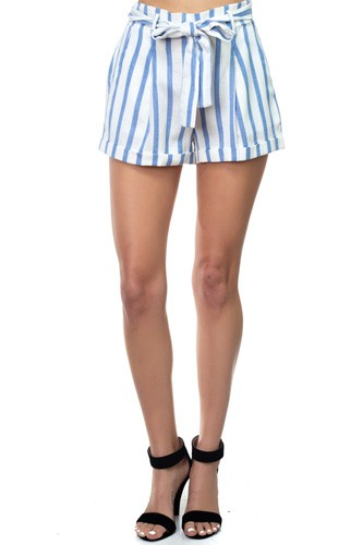 Stripe belted short pants-id.cc37625