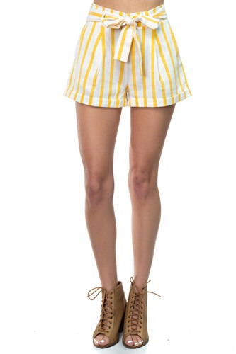 Stripe belted short pants-id.cc37625a