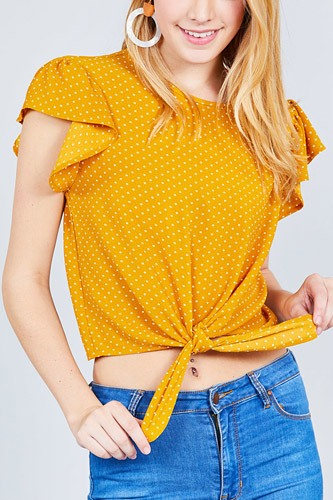 Ruffle sleeve round neck front tie dot print woven top-id.cc37630a