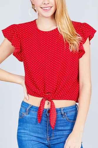 Ruffle sleeve round neck front tie dot print woven top-id.cc37630c