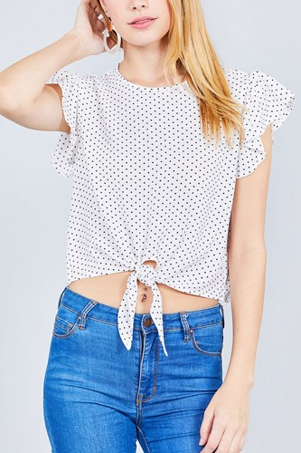 Ruffle sleeve round neck front tie dot print woven top-id.cc37630d